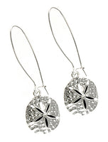 Sand Dollar Silver Tone Drop Dangle French Hook Earrings