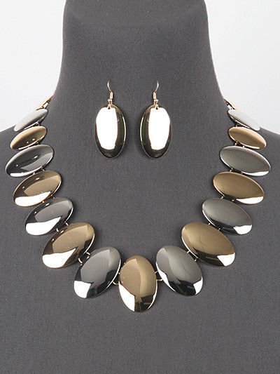 Silver Gold Oval Link Statement Necklace Earring Set