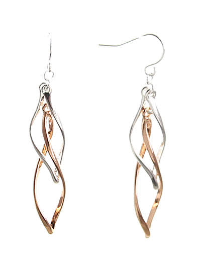 Silver Rose Gold Tone Double Twisted Dangle Drop Earrings