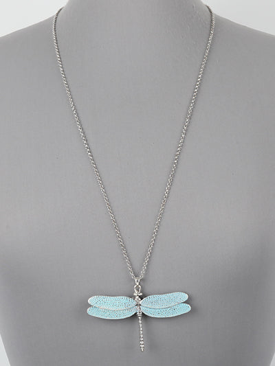 Silver Tone 3D Dragonfly Pendant Chain Necklace New Fashion Women Jewelry