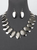 Silver Tone  Oval Link Statement Necklace Jewelry Set