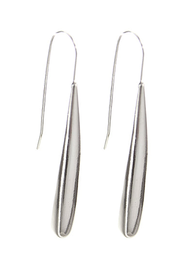 Silver Tone Wire Threader Dangle Linear Drop Earrings