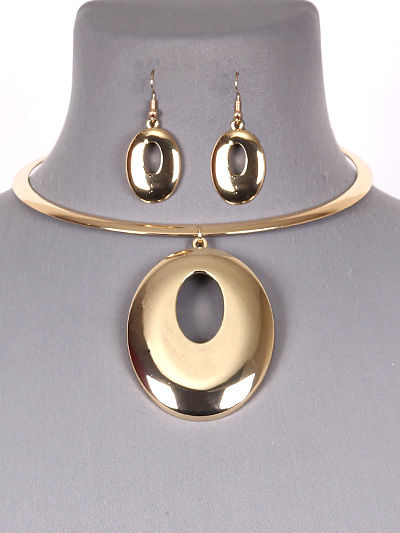 Silver or Gold Tone Statement Circle Choker Necklace Earring Set