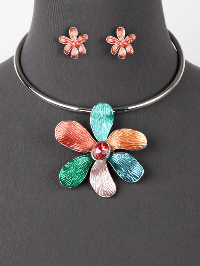Statement Big Flower Necklace Earring Set
