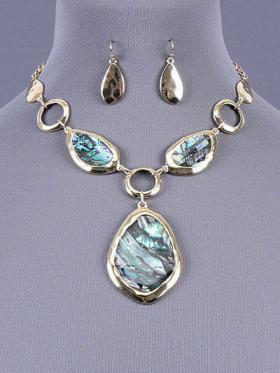 Statement Chunky Abalone Shell Pendant Necklace Earrings Set