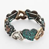 Stretch Patina Heart Link Love Wish Dream Crystal Fashion Bracelet