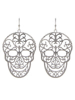 Sugar Skull Day of the Dead Filigree Silver Tone Earrings