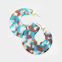 Teal Multi Geometric Celluloid Acetate Disc Hoop Earrings