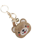 Teddy Bear Rhinestone Key Chain Handbag Charm Accessory