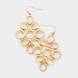 Textured Cluster Dangle Gold Tone Costume Fashion Earrings