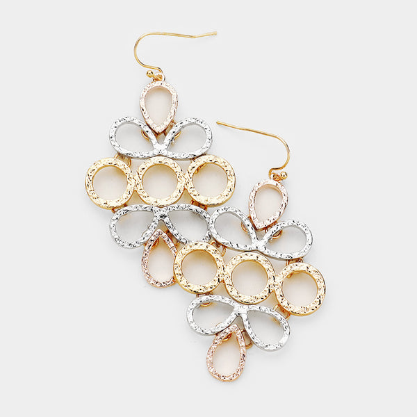 Textured Cluster Dangle Drop Multi Tone Earrings