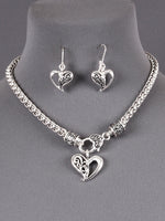Textured Heart Filigree Pendant Antique Silver Tone Necklace Set