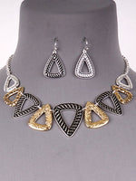Textured Two Toned Metal Triangle Drop Necklace Earrings