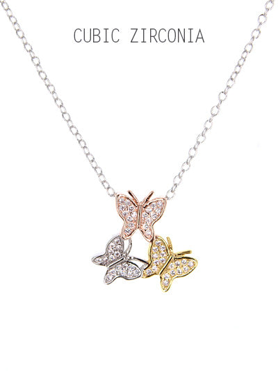 Tri-Tone Micro Pave Butterfly Pendant Necklace