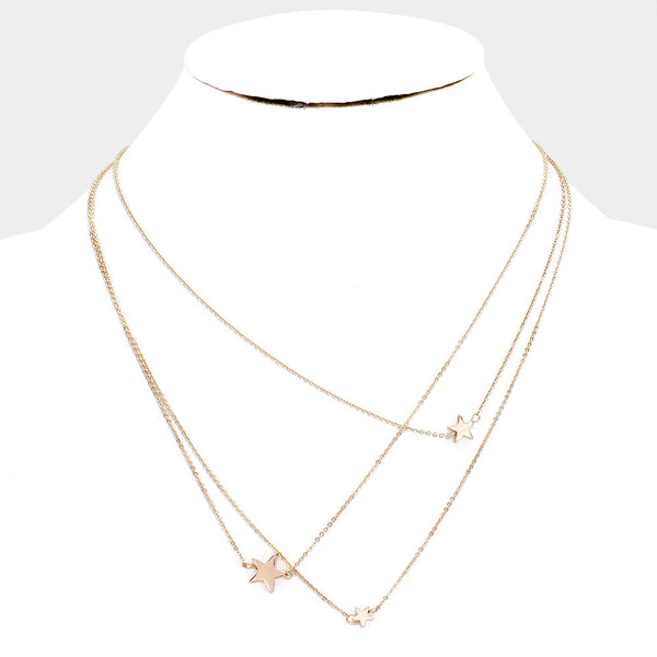 Triple Layered Gold Star Fashion Necklace