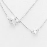 Triple Layered Silver Tone Star Necklace