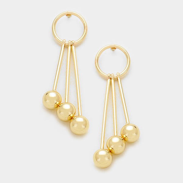Triple Linear Ball Drop Hoop Gold Tone Earrings