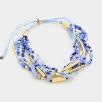 Triple Strand Beaded Cinch Blue Bracelet