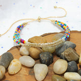 Triple Strand Beaded Cinch Multi-Color Bracelet