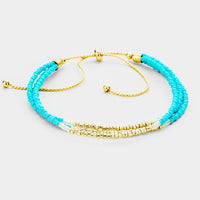 Triple Strand Beaded Cinch Turquoise Blue Bracelet
