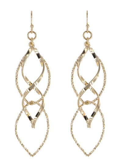 Twisted Spiral Drop Gold Tone Earrings