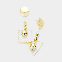 Unbalanced Ball Geo Square Triangle Metal Link Earrings