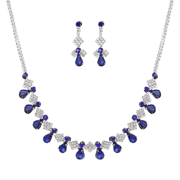 Vintage Blue and Clear Rhinestone Statement Necklace Set