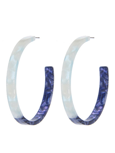 Vintage Inspired Round Blue Hoop Earrings