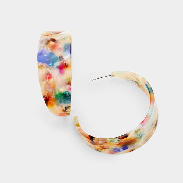 Vintage Inspired Round Multi-Color Half Hoop Earrings