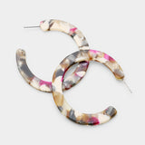 Vintage Inspired Round Multi-Color Hoop Earrings