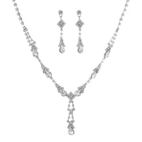 Vintage Teardrop Rhinestone Statement Pave Y Necklace Set