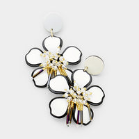 White Beaded Detail Flower Drop Gold Tone Earrings