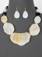 Women's Chunky Statement Strand Necklace  Set - White