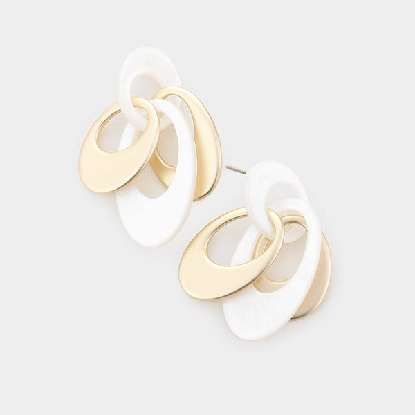 Women's Oval Link Drop Earrings - White