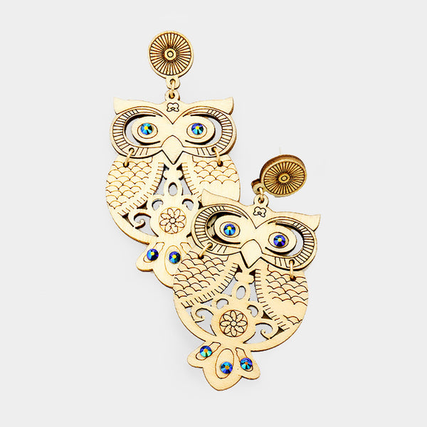 Wood Owl AB Crystal Drop Dangle Linked Earrings