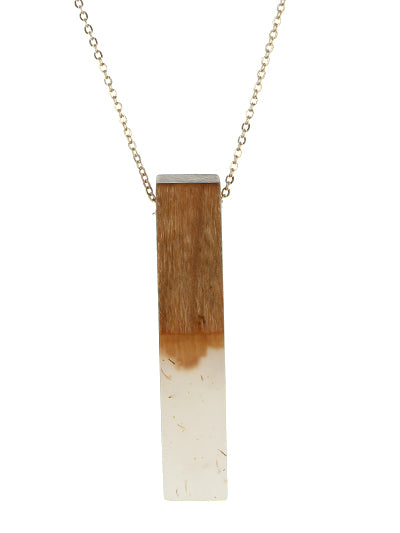 Wood with Resin Pendant Long Necklace