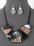 Women's Wood and Resin  Statement Bib Fashion Necklace Set - Black