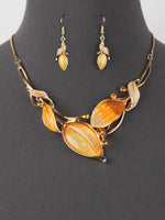 Yellow Gold Leaf Rhinestone Statement Bib Necklace Earring Set