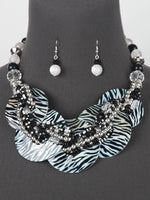 Zebra Print Silver Multi Strand Statement Bead Chunky Necklace Set