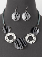 Fashion Zebra and Snake Statement Corded Necklace Earrings Set
