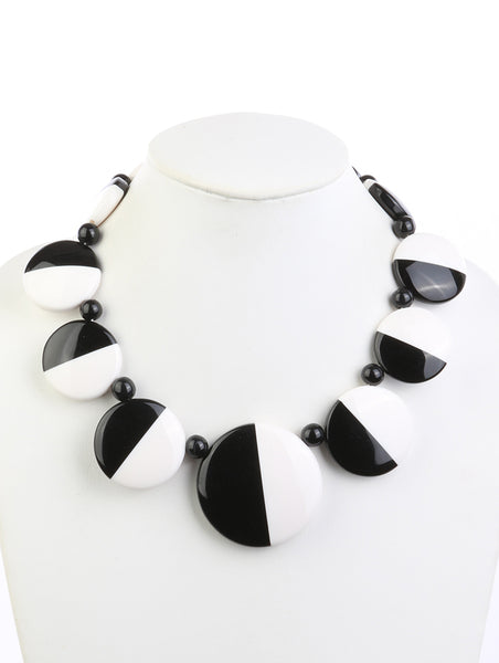 Zoe Homaica Bead Black and White Statement Fashion Necklace