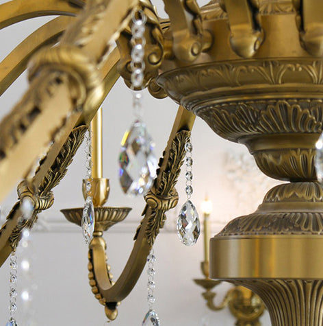 close up on crystal chandelier
