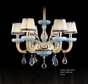 blue modern elegant crystal chandelier 6 lights