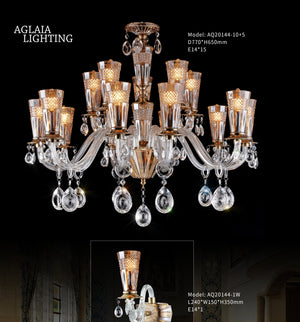 beacon amber crystal chandelier 15 light