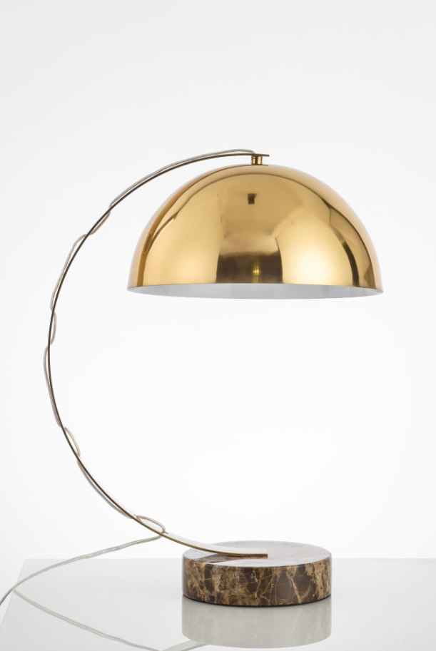 Marble Curved Polished Gold Contempory Table Lamp - Replica