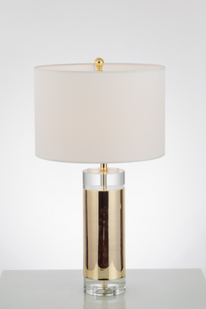 S gold white shade table lamp - Aglaia lighting
