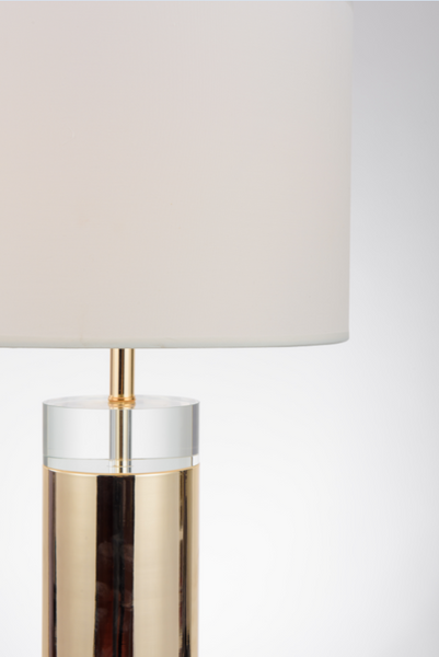 S gold white shade table lamp