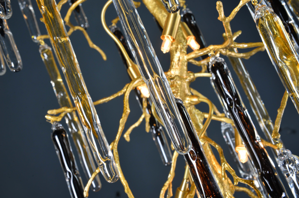 Crystal Brass Stalactite / Staircase Chandelier