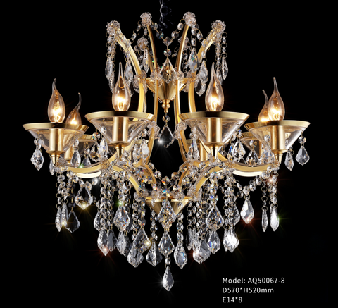 Transparant Glass Plate / 24K Gold / Crystal Chandelier - AQ50067