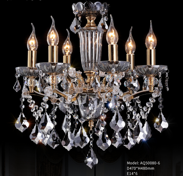 Smokey Glass Transparant Plate With Smokey Crystal Chandelier - AQ-50080